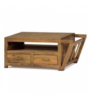 Mesa de centro estilo rustico color pino anogalado