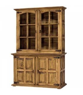 Vitrina rústica de Myoc color natural de 4 puertas, mueble mejicano.