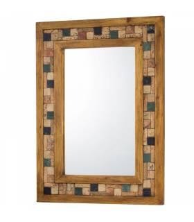 Espejo de estilo rustico con mosaico
