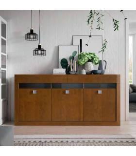 Aparador de estilo moderno realizado en madera de pino macizo. COLOR: Nogal