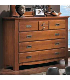 Cómoda de madera de alta calidad, disponible en color nogal y blanco lacado