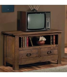 Mesa de Tv  de estilo rustico, realizada en madera de roble macizo