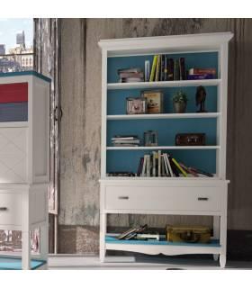 Librero de estilo clásico colección Amberes. Dispone de varias estanterías y un cajón. Realizado en su totalidad por madera
