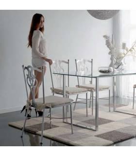 Silla de forja color plata modelo Viena
