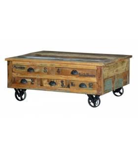 mesa de centro vintage con 5 cajones