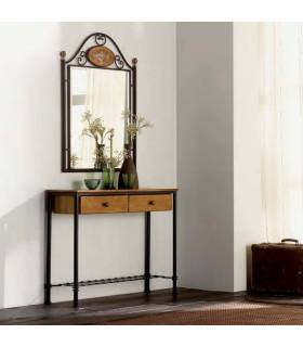 Recibidor de forja  madera con espejo opcional