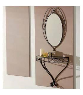 Consola de pared modelo Venecia en forja y cristal