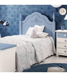 Cabezal clásico en color azul camas juveniles