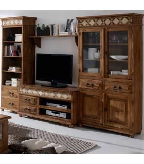 Composición librería estilo rústico madera maciza