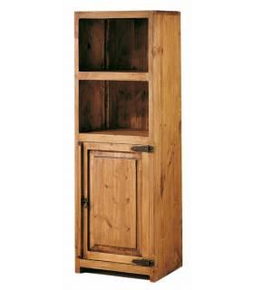 Vitrina de estilo rustico con dos estanterías y una puerta