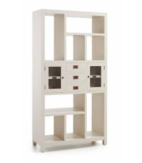 ESTANTERIA LIBRERIA ESTILO COLONIAL COLECCION NEW WHITE, REF: 14636S