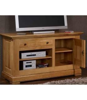 Mueble de Tv con varios cajones y una puerta de madera