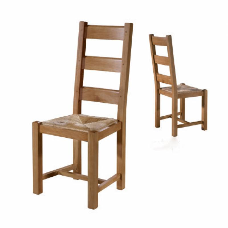 silla comedor madera roble estilo rústico y asiento de anea