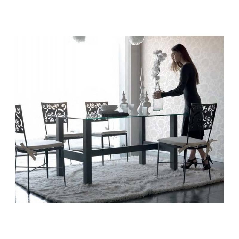 mesa de forja con cristal estilo moderno en varias medidas