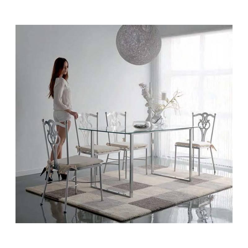 mesa de comedor moderna en forja y cristal de 1 cm. de grosor