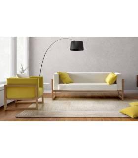 Sofá de madera 3 plazas color cerezo tapizado en blanco