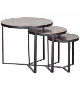 set de 3 mesas con tapa de bronce