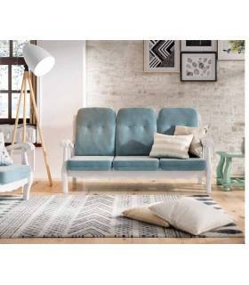 Sofá de madera clásico color blanco 3 plazas