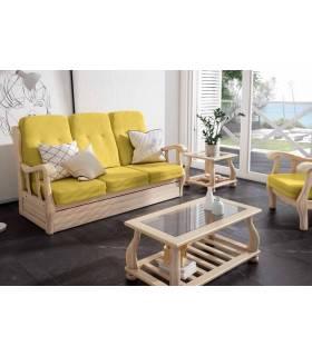 Sofá cama nido de madera en color natural 3 plazas