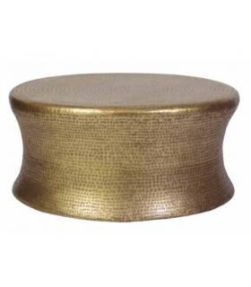 mesa de centro redonda de metal, acabado bronce antique