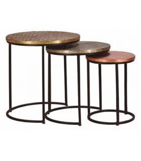 3 mesas nido estructura de metal
