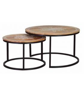 set 2 mesas nido con base de hierro