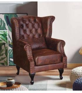 sillón vintage tapizado en capitone