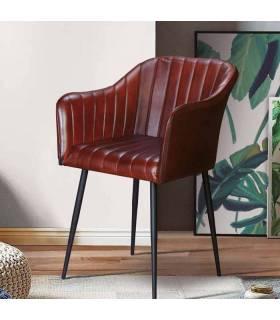 sillón vintage acolchado en piel