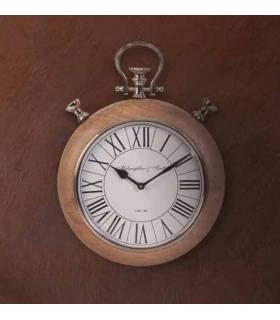 reloj de madera y metal estilo vintage