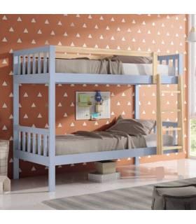 Litera color natural y azul cama de 90 cm, José Ibáñez