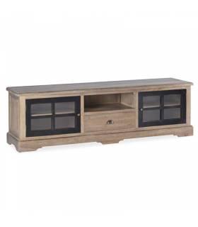 Mueble tv colonial en color roble y negro 2 puertas