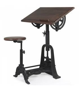 Mesa de estudio con taburete industrial Moycor