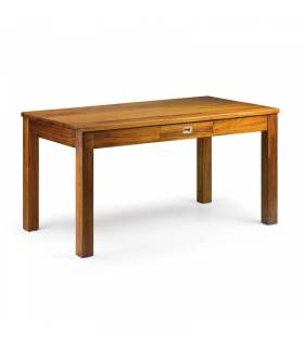 mesa de comedor rectangular fija con dos cajones