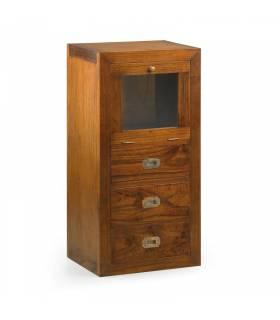 mesita de noche de noche o mueble auxiliar 3 cajones 1 puerta abatible