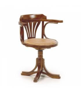 silla giratoria madera con asiento de rattan