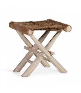 taburete plegable piel de cabra y madera de teka