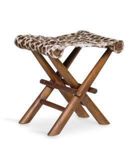 taburete plegable piel leopardo