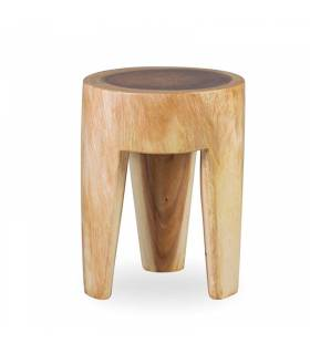 taburete redondo de madera