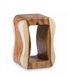 taburete rectangular de tronco estilo rústico