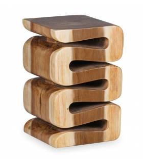 taburete  cuadrado de madera estilo rústico