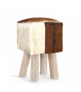 taburete cuadrado piel de cabra
