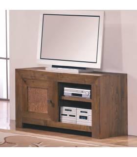 Mesa de Tv con dos mini estanterías para guardar los dispositivos de la misma.