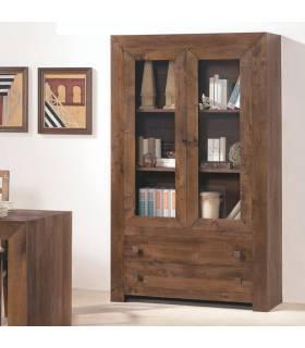 Vitrina de dos cajones y dos puertas de madera maciza de gran calidad y resistencia.