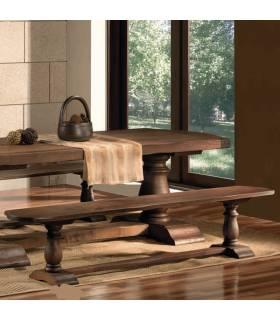Banco de estilo rústico realizado en madera de roble macizo.