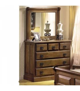 Cómoda de estilo rustico con espejo o sin espejo.