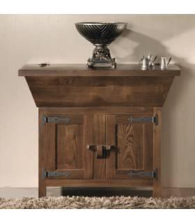 Artesa de estilo rústico realizada en madera de roble macizo.