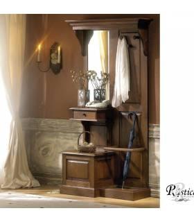 Recibidor de estilo rustico, realizado con madera de roble macizo.