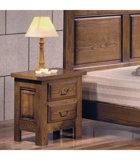 Mesita de noche de estilo rustico, realizada en madera de roble macizo.