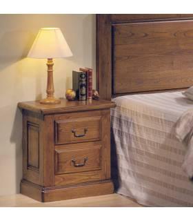 Mesita de noche en estilo rustico realizada con madera de roble macizo.
