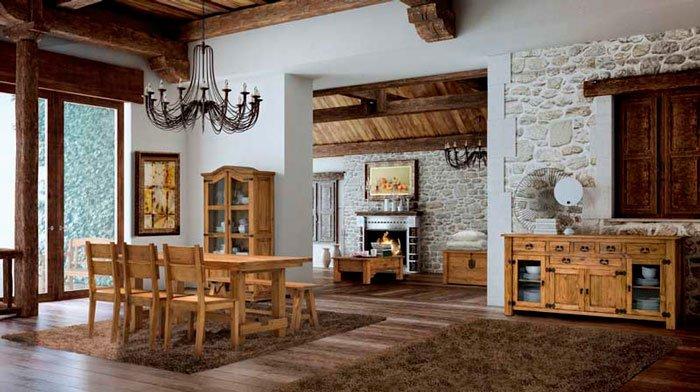 salón grande conjunto rústico mueble mexicano